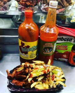 street food in Chetumal sausage and chips